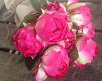 Faux fuschia pink rose artificial silk flower bouquet