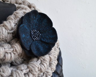 Felt Brooch Black and Turquoise Flower Flower Wool Jewelry Felt Flower Pin Wool Brooch Fiber Art Floral Jewelry Gift for her