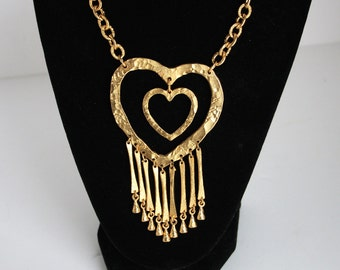 Heart Necklace Large Chunky Statement Double Heart Gold Necklace