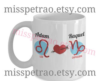 Couple Zodiac Mug, two zodiac signs, custom coffee mug with couple's names and symbols, left or right handed two sided