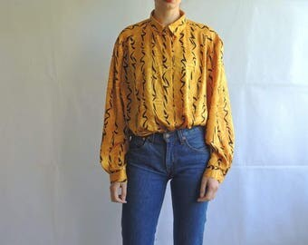 Vintage Slouchy Yellow Abstract Pattern Button Up Blouse