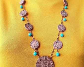 gift women bib necklace tribal Egyptian jewelry statement ethnic necklace jewelry brown tribal jewelry gift for mom ancient jewelry African