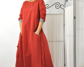 Red Long Maxi Cotton Dress/Casual Maxi dress/Maxi Caftan Dress/Two pockets/Woman day dress/Party long Dress/Plus size dress/D0251