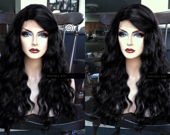 U.S.A. // Wavy Heat OK Off BLACK Lace Front & PART Wig w/ Curly Kinky Texture