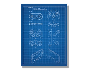Nintendo Controllers Patent Poster screen print decoration technical invention design blueprint schematic retro video game screenprint