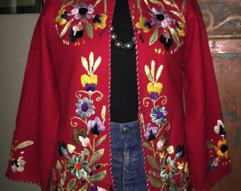 Red 1940s embroidered jacket.
