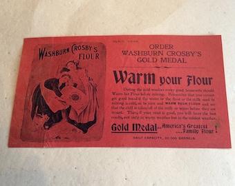 Washburn,Crosby's Gold Medal Flour/Late 1800's paper AdvertisingEmphera/Culinary Emphera/Historical Advertising Emphera/Collectible Emphera