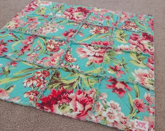 Baby Lovey/Security Blanket/Rag Quilt/Amy Butler Love Bliss Bouquet Teal,Pink,Coral/Handmade