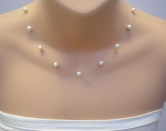 Genevieve ~ 6mm Floating Illusion Pearl Necklace ~ Child & Adult sizes ~ any colour
