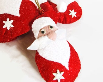 Felt Santa Christmas Tree Decoration; Santa Claus Ornament; Unbreakable Holiday Ornaments; Stocking Stuffers; Ornaments for Kids