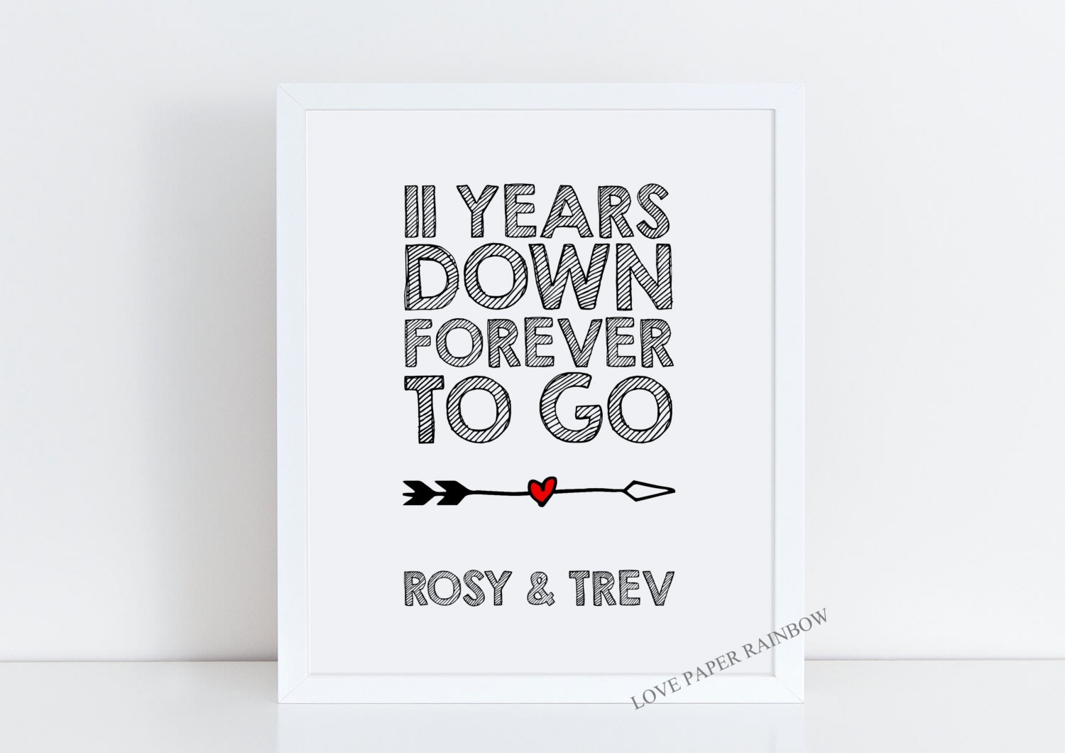 Wedding Gift 11 Years : 11th wedding anniversary gift, 11 years together, 11th anniversary ...