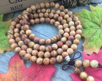 108pc 8mm Natural agathis alba / raja kayu Wooden Loose Beads Meditation Buddhist Japa Mala Necklace Elastic Bracelet