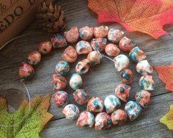 "Mixed Agate Powder Skull Gemstone  15"" Loose Beads DIY Suppliers for Jewelry Spacer Charms  Full Strand  Orange Pink"