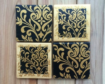 Unique hand painted wood coasters - Damask design - Black & gold pattern - Housewarming gift - 4 x pine wood coasters with or without holder