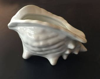 Small Footed Shell Shaped Dish White Ceramic Beach Decor
