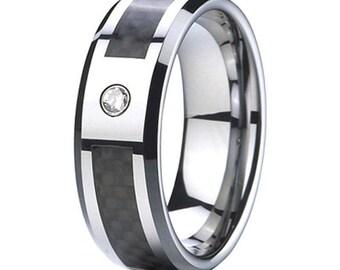 8mm  1 Cubic Zirconia (CZ) Black Carbon Fiber Tungsten Carbide Men's /Women's Ring Band Comfort fit-