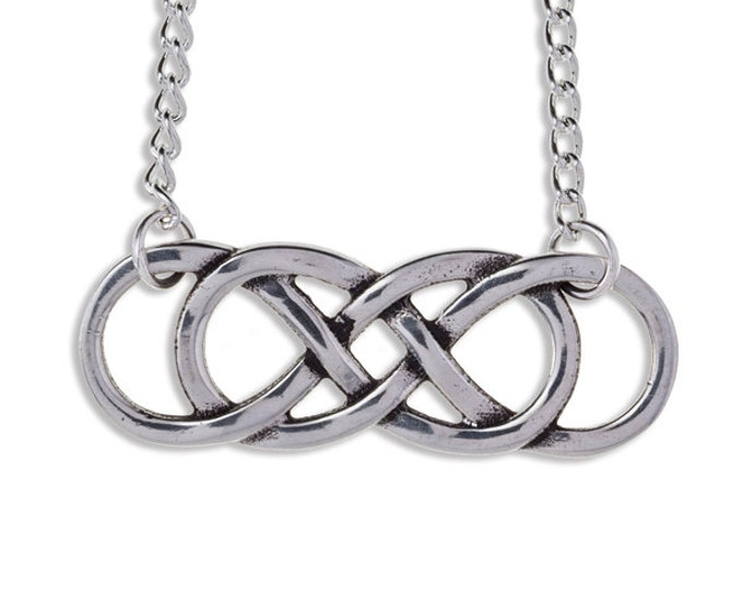 Double infinity knot Pendant Necklace- Hand Made in UK