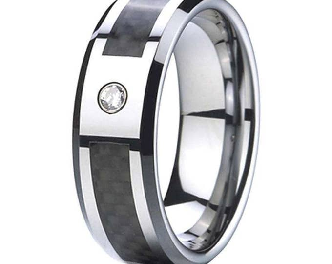 Personalised Free Engraving 8mm Cubic Zirconia (1 CZ) Black Carbon Fiber Tungsten Carbide Men's /Women's Ring Band Comfort fit-