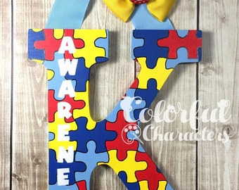 Autism Awareness Hand painted wooden letter, custom letters, acrylic paints, wooden letters, made to order, customized, personalized
