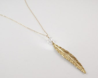 Feather Necklace • Gold Feather Necklace • Long Gold Necklace • Long Crystal Necklace • Women's Gift Necklace