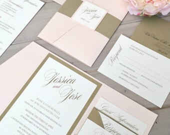 pink and gold wedding invitations   etsy, Wedding invitations