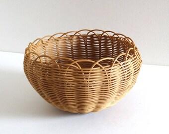 Vintage 1950s Wicker Basket or Planter