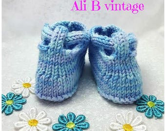 Baby T bar shoe blue baby shoe knitted baby shoe baby boy shoe pram shoes trainers baby shower gift newborn baby gift 0-3 months