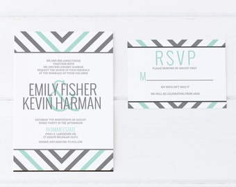 Mint Wedding Invitation, Gray Wedding Invitation, Mint and Gray wedding invitation, Chevron Wedding Invitation, Classic Wedding Invitation