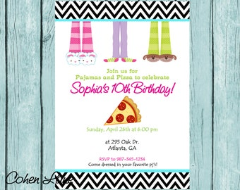 Printed 5x7 Sleepover Invitations and Envelopes.  Pajama and Pizza Birthday Party Invitation.  Printed Invites and Envelopes.
