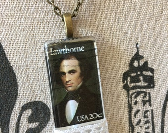 Nathaniel Hawthorne Author Gift for Writers Book Lover Gift Scarlet Letter Seven Gables Classic Book Necklace Gift English Teacher Jewelry