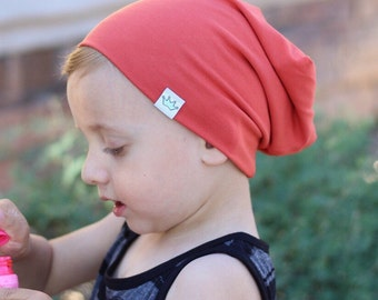 Baby slouchy beanie/ Toddler beanie/ Baby beanie/ Coral hipster beanie/ Slouchy knit hat/ Infant slouchy beanie