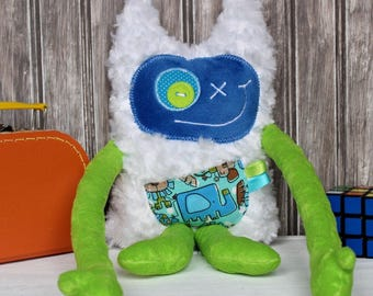 Hug Monster, handmade plush toy, lime green and dark blue with monsters print,friendly monster for child,unique  birthday gift, ready to go
