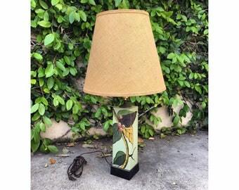 Vintage 1970s Lamp Vintage Floral Lamp Vintage Lighting 70s Lighting Vintage 70s Big Lamp 1970s Japanese Lamp Vintage Oriental Lamp