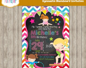 Gymnastic Blackboard, Invitation, Gymnastic Birthday, Gymnastic Party, Gymnastic Invitation, Gymnastic Invite, Party Birthday, Gymnastic