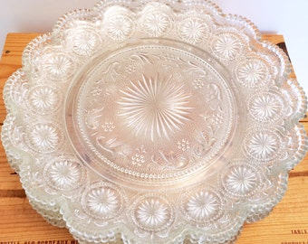 Vintage Set of 4 Concord Pattern Brockway Glass Dinner Plates, MINT CONDITION, c. 1960's