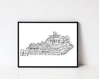 Hand lettered Mayfield Kentucky Word Art Print // 8x10