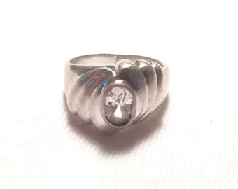 925 sterling silver cz ring size 6