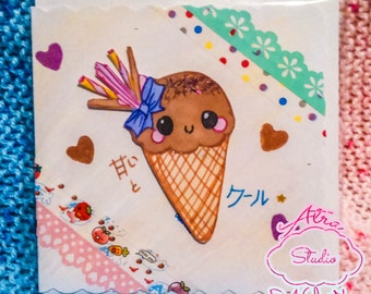 Original Hand-drawn Sweet Ice-Cream Kawaii Greeting Card
