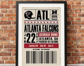 Atlanta Falcons Retro Style NFC Championship Ticket Print