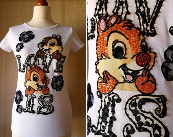 OUTLET! 10% OFF Rare Authentic Vintage DISNEY t-shirt Cip & Ciop embroidered with beads, rhinestones and sequins private collection size M