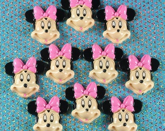 10pcs Minnie Mouse With Pink Bow Resin Cabochon Flat Back Scrapbooking Hair Bow Center Crafts Embellishments DIY