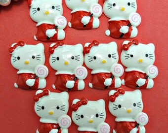 Girl Kitty Flat Back Embellishments / 10 Kitty Flat Backs W/ Red Bow / 20 x 30mm