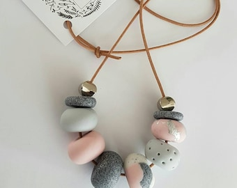 Pink, grey and silver clay bead necklace, polymer clay jewellery, clay necklace, gift for her, birthday gift, beaded necklace, polymer clay