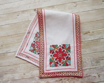 Embroidery Table Runner, Hand embroidered runner, Small linen table cloth, Traditional Bulgarian embroidery, Ethnic Home Décor, Wall décor,
