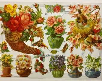 Floral Display Birds SCRAP RELIEFS (1 sheet) #7186 - Embossed Die Cuts - Made in Germany