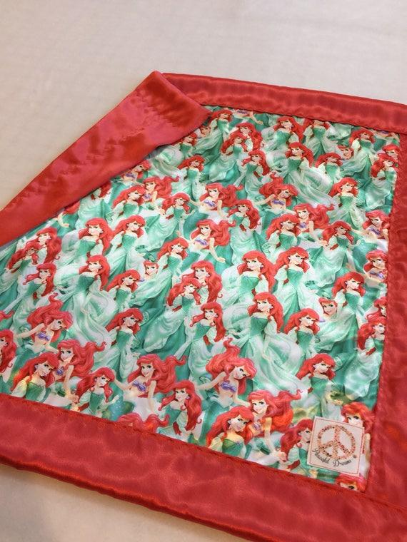 Disney  mermaid Baby blanket, Silky blanket, Stroller blanket, Lovey, silky, Homemade.