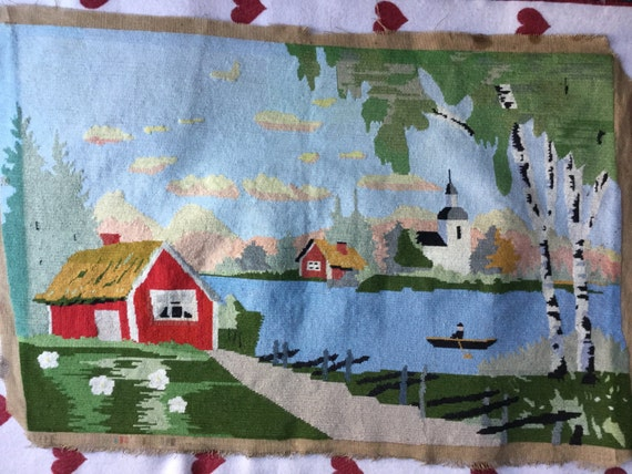 Swedish embroidery folk-art wall panel wall hanging cushion needlepoint tapestry