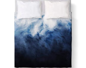 Storm Navy Blue White Abstract Duvet Cover/ Comforter cover/ KING, QUEEN, TWIN /bedding/ Blue Ombre Duvet Cover
