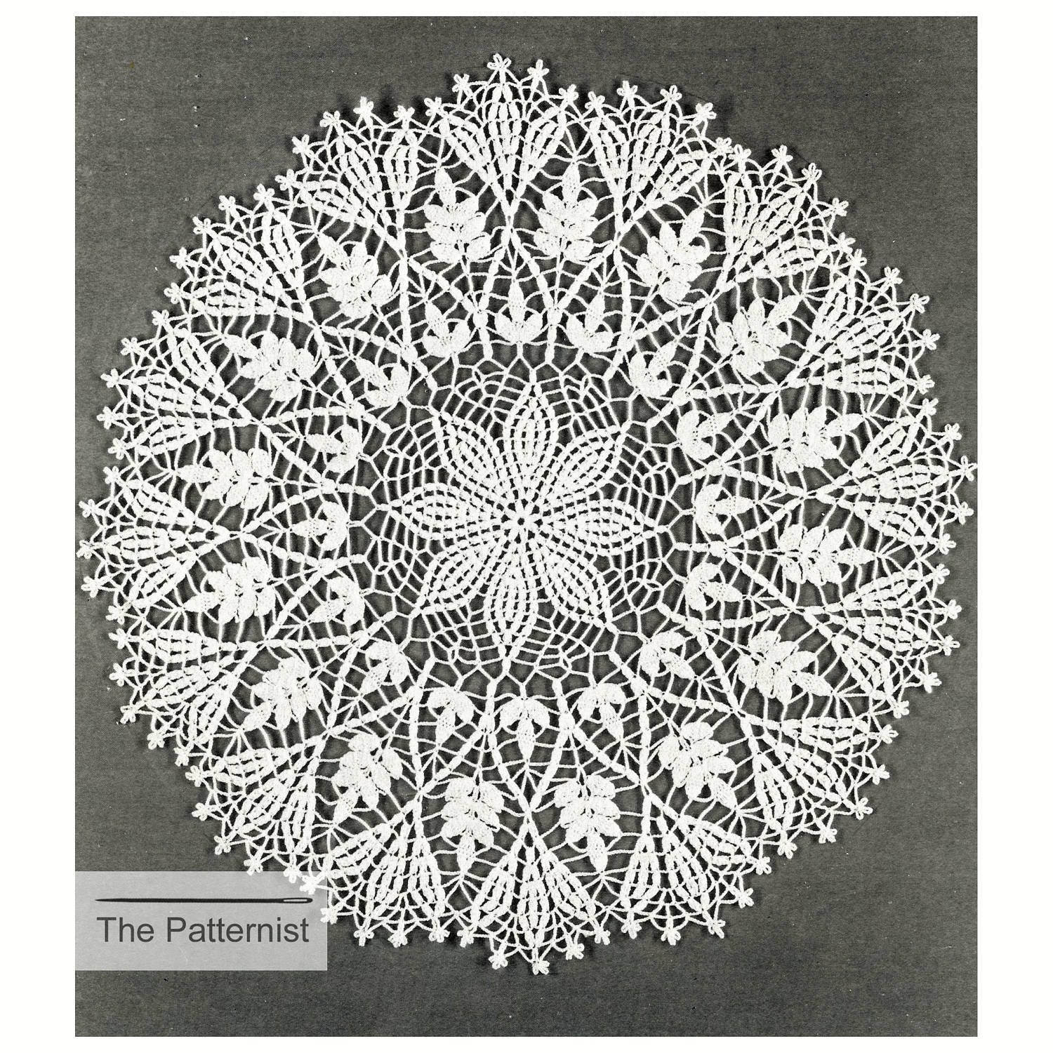Flower fern doily placemat table mat vintage crochet pattern zoom bankloansurffo Image collections