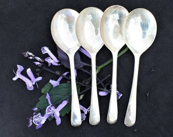 Four Sweet Spoons Silver Plate - Chevron England